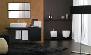 Interni scuri neri - marrone per un ambiente bagno. (axa)