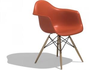 La Plastic Armchair versione DAW - dowel legs base con gambe in legno e strutura di rinforzo metallica.