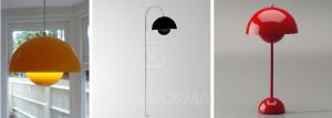 Le tre versioni della Flowerpot: lampada a sospensione, lampada da tavolo e da giardino.