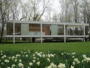 Casa Farnsworth è come una scatola di vetro che esclude ogni rapporto con le cose circostanti con lo sfondo naturale del bosco che circonda l'abitazione.