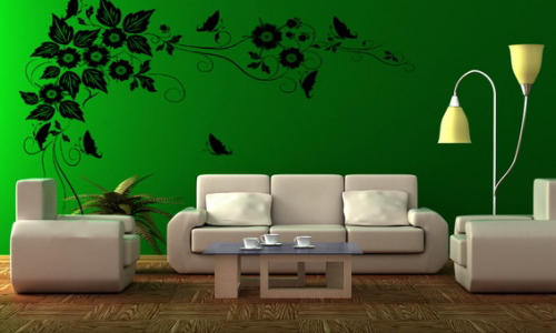 Colori in soggiorno verde arredativo design magazine for Green wallpaper living room