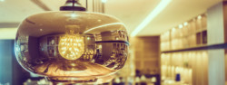 Light lamp decoration in restaurant interior - Vintage Filter