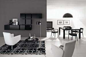 Una soluzione di soggiorno in cui dominano colori neutri in perfetto equilibrio. (Calligaris)