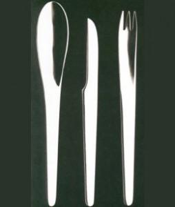 Le posate AJ in acciaio inox realizzate da Arne Jacobsen per George Jensen (1957)