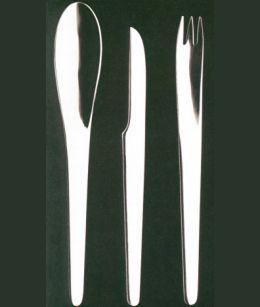 Le posate AJ in acciaio inox realizzate da Arne Jacobsen per George Jensen (1957