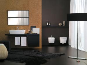 Il marrone in questa soluzione proposta nella zona bagno conferisce personalità.(Axa)