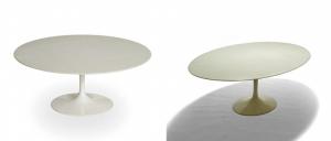 Tavolino da caffè della serie piedistallo con ripiano circolare o ovale.