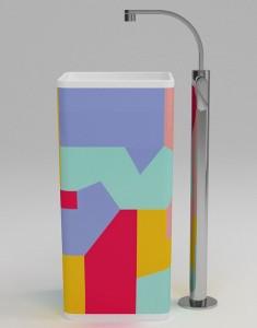 Lavabo Monowash di Giulio Cappellini, nella versione presentata al Salone del Mobile 2010 decorato da Alessandro Mendini. (Flaminia)