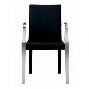 Monseigneur sedia liscia in pelle nera. (Driade)