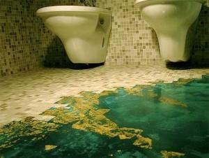 Pavimento in resina con foglia d'oro.