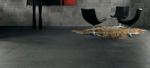 'Effetto cemento' ottenuto grazie a piastrelle di ceramica Beton.