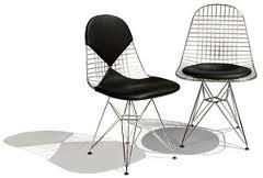 Wire chair con cuscino in pelle nera e nella versione Bikini.