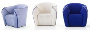 Panna Chair nei tre colori,bianco, blu e indaco.