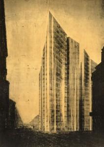Il grattacielo sulla Friedrichstrasse concorso a cui Mies van der Rohe partecipa nel 1921.