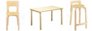 Alcuni prodotti in compensato progettati Alvar Aalto.