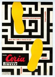 Manifesto per la campagna per le suole Coria Pirelli, del 1953 firmato Bruno Munari