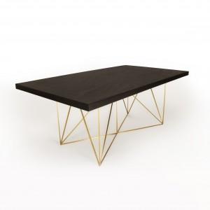 TheWireTable by AlbertoBiagetti. Tavolo con base in ottone opaco e piano in multistrato marino.