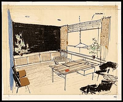 Schizzi per lo studio degli interni dell' ufficio di Hans Knoll (/www.aaa.si.edu)