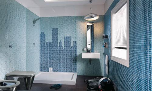 Colore in bagno con finiture mosaico arredativo design magazine - Arredo bagno mosaico ...