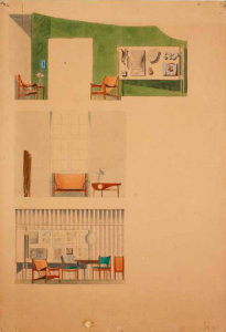 Acquerelli della Chieftain Chair  al Cabinetmakers' Guild exhibition 1949 (fonte:http://theredlist.fr )