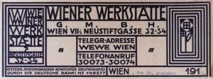 Targa della Wiener Werkstätte intestata con motivo floreale di Koloman Moser. (fonte: www.theviennasecession.com)