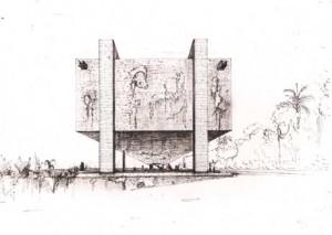 Disegni per il  Museo di Arte Moderna di San Paolo 1957-68 (fonte: www.ayounghare.wordpress.com/)