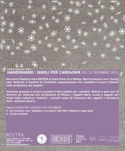 'Hand in hand', vendita benefica Warli per Care&Fair