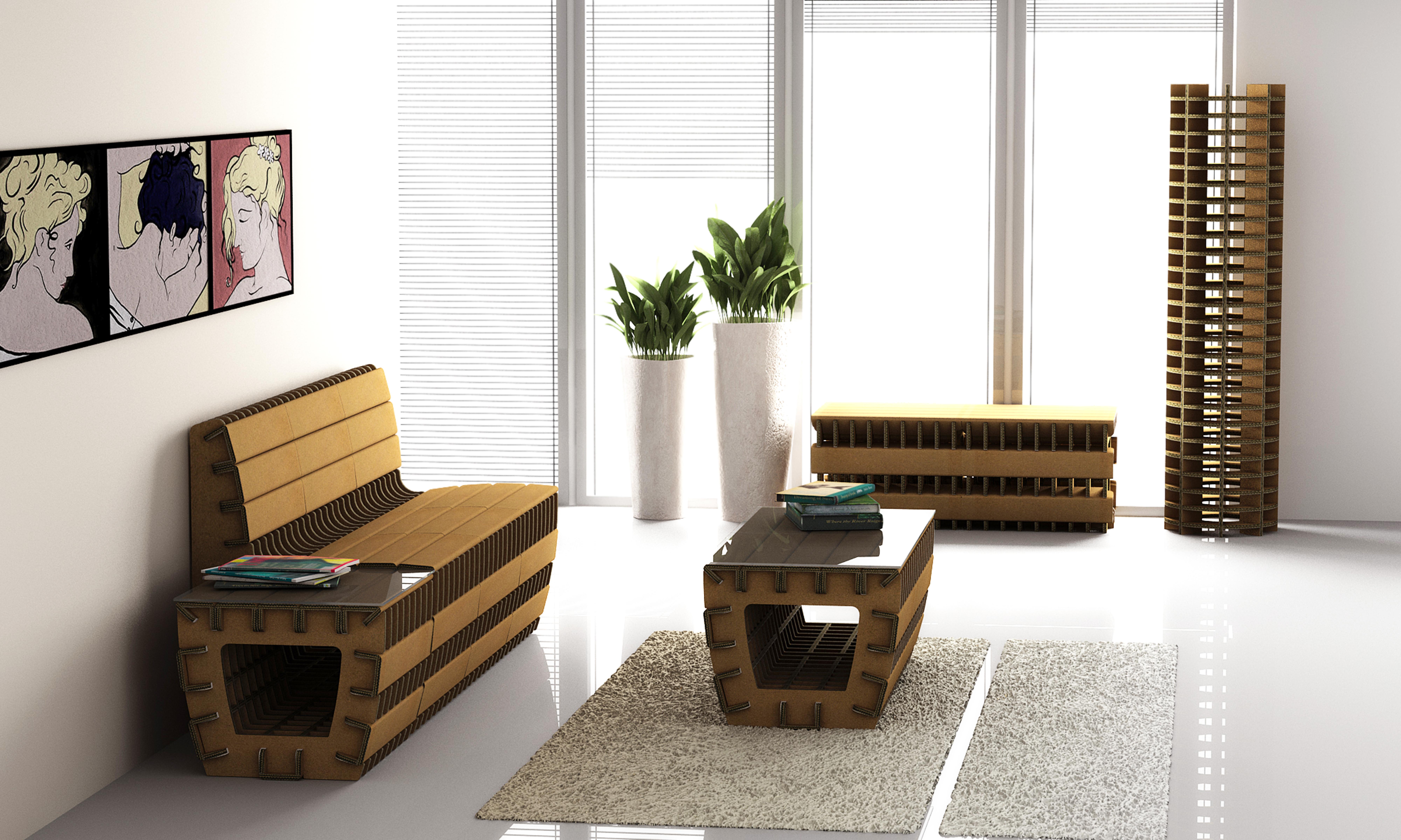 Eco design secondo mobili in cartone arredativo design for Materiali per mobili