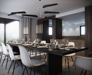 contemporary-luxurious-dining-room-design-with-long-black-wood-dining-table-with-eames-eiffel-chair-and-modern-pendant-lights