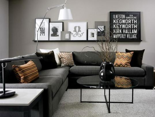 Divano Nero Cuscini : Un interessante parete del soggiorno arredativo design magazine