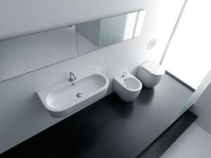 Kerasan - Linea Flo - Lavabo 90 + Vaso e Bidet compact