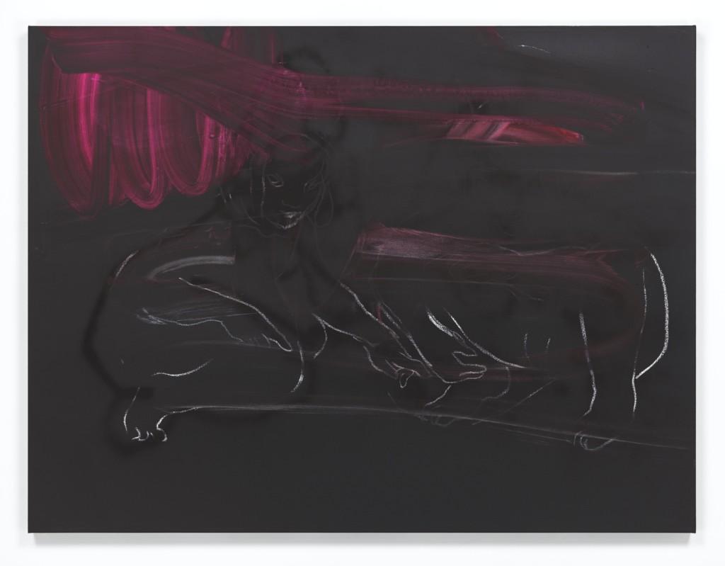 Rita Ackermann Stupid Devil 1 2015 Acrylic, spray paint, chalk, pigment on canvas 127 x 167.6 x 4 cm / 50 x 66 x 1 5/8 in Photo: Genevieve Hanson