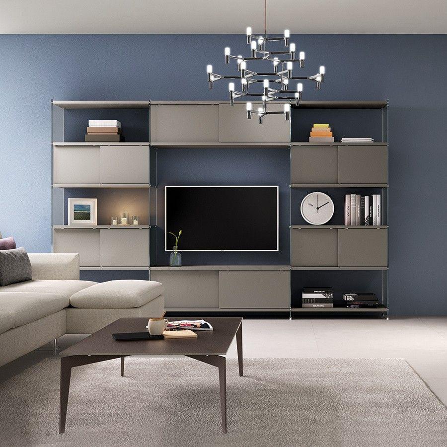 Soggiorno la parete attrezzata per un living moderno for Parete attrezzata design moderno