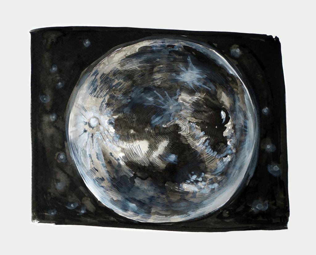 Adelita Husni-Bey, Planet 2017 Inchiostro e acrilico su carta, 23,5 x 28,5 cm Courtesy l'artista e Laveronica arte contemporanea, Modica