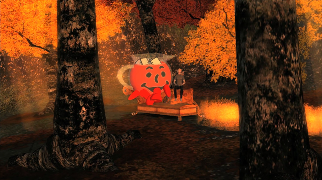 "Jon Rafman, Kool-Aid Man in Second Life 2008-2011 Video HD (colore, con suono in stereo) Durata: 18'01"" Courtesy l'artista"